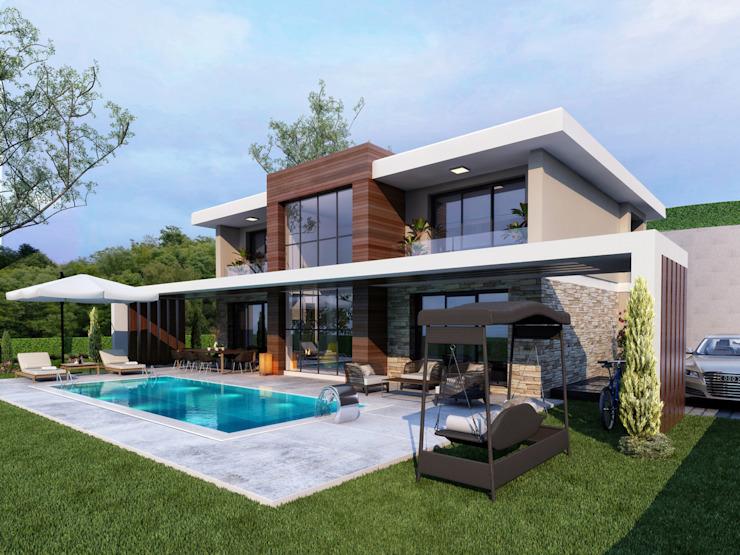Façade moderne -1 / Hayat Villas de Sia Moore Archıtecture Interıor Desıgn Composite moderne bois-plastique
