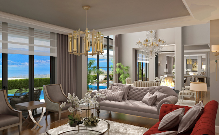 Living Room -1 / Hayat Villas Salon moderne par Sia Moore Archıtecture Interıor Desıgn Bois massif moderne multicolore
