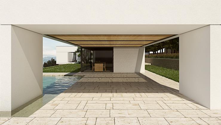 Villa sicilienne contemporaine avec piscine Balcon, véranda et terrasse modernes par ALESSIO LO BELLO ARCHITETTO a Palermo Modern
