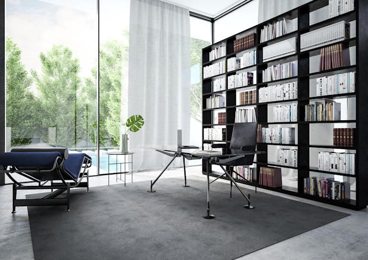 Étude/bureau minimaliste par Aeon Studio Minimalist Glass
