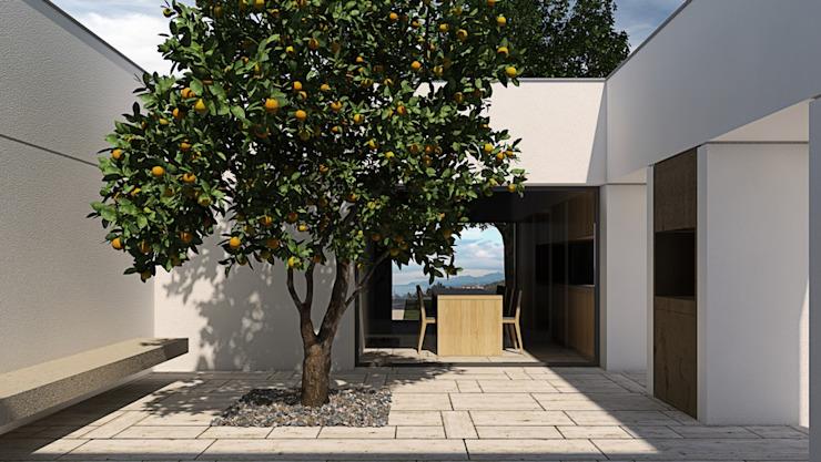 Patio avec citronnier Balcon, véranda et terrasse de style méditerranéen par ALESSIO LO BELLO ARCHITETTO a Palermo Mediterranean