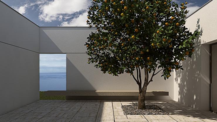 Patio avec fenêtre sur la mer, balcon en citronnier de style méditerranéen, véranda & terrasse par ALESSIO LO BELLO ARCHITETTO a Palermo Mediterranean Stone