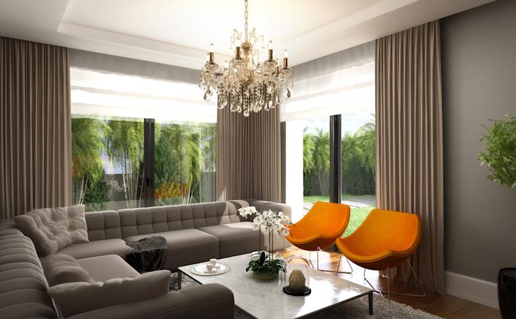 Daily Living Room / Hayat Villas Salon moderne par Sia Moore Archıtecture Interıor Desıgn Bois massif moderne multicolore