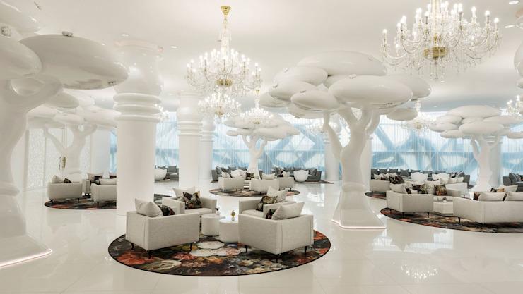Lobby -1 / Mondrian Doha Hôtels de style éclectique par Sia Moore Archıtecture Interıor Desıgn Céramique éclectique