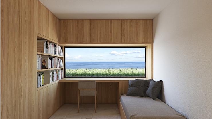 Chambre avec vue avec une fenêtre donnant sur la mer Chambre de style moderne par ALESSIO LO BELLO ARCHITETTO a Palermo Modern
