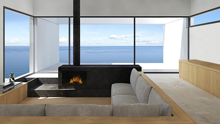 Vitrine sur la mer Salon moderne par ALESSIO LO BELLO ARCHITETTO a Palermo Modern