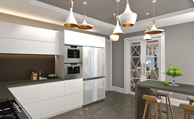 Cuisine / Hayat Villas par Sia Moore Archıtecture Interıor Desıgn Bois massif moderne multicolore