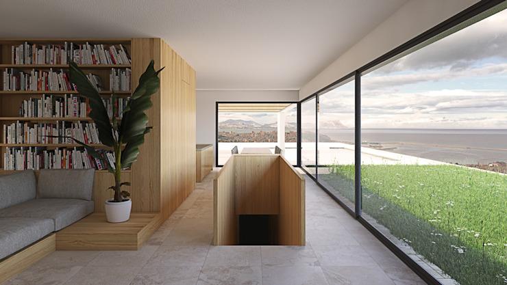 Escalier en bois Salon moderne par ALESSIO LO BELLO ARCHITETTO a Palermo Effet bois moderne