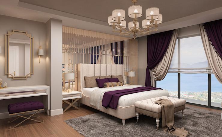 Master Bedroom / Hayat Villas par Sia Moore Archıtecture Interıor Desıgn Bois massif moderne multicolore