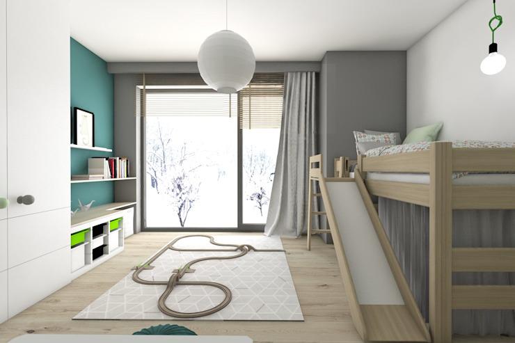 Crèche/chambre d'enfants moderne par BAGUA Pracownia Architektury Wnętrz Moderne