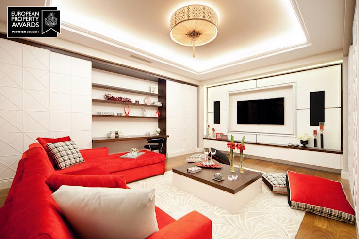 Salle de cinéma maison - 2 / Bosphorus City Villa Salon de style classique par Sia Moore Archıtecture Interıor Desıgn Effet bois classique