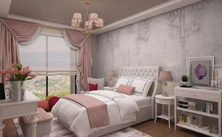Chambre de fille - 2 / Hayat Villas par Sia Moore Archıtecture Interıor Desıgn Bois massif moderne multicolore