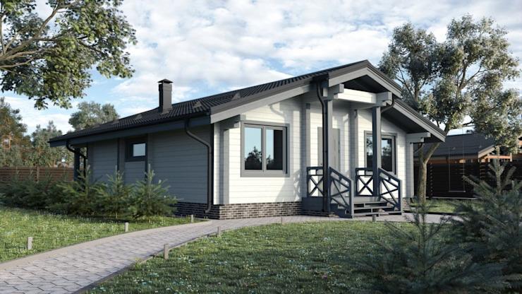 """Maison en bois lamellé-collé """"Eurodom-1"""" par Archiline Wooden Houses Modern"""