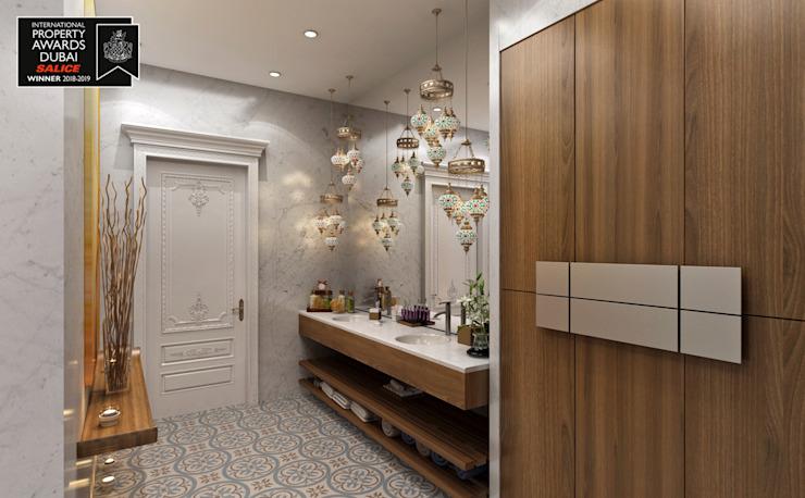Couloir SPA / Sitak Villa Couloir, couloir et escaliers de style classique par Sia Moore Archıtecture Interıor Desıgn Marbre classique