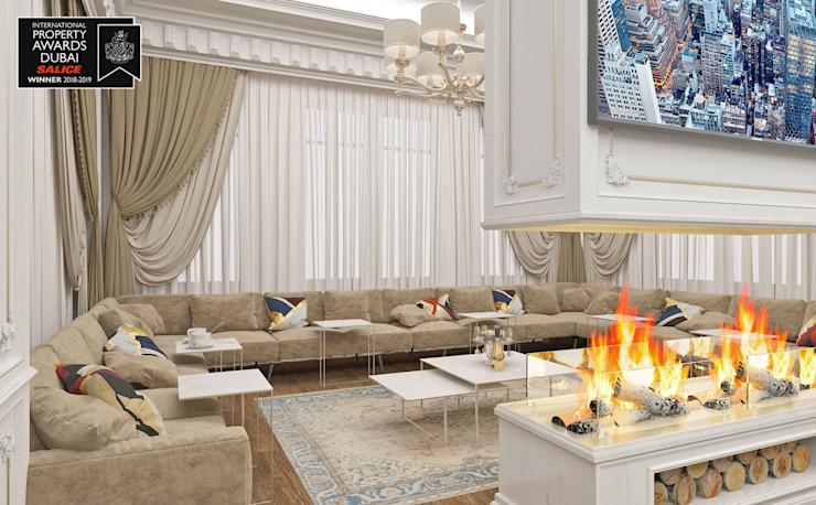Salon de la maison d'hôtes / Sitak Villa Salon de style classique par Sia Moore Archıtecture Interıor Desıgn Effet bois classique