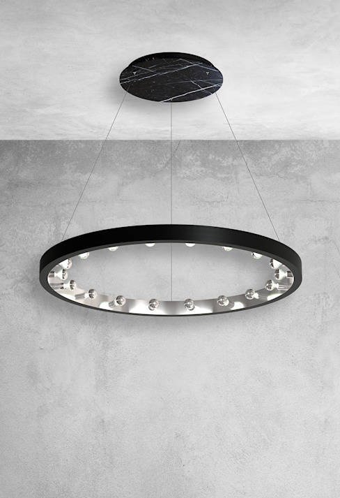 Grand pendentif de plafond 18 lumières en marbre noir : moderne par Luxury Chandelier, Modern Marble