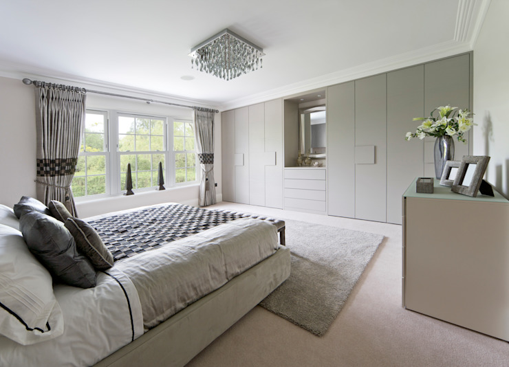 Meubles de chambre à coucher contemporains gris Londres : moderne par Metro Wardrobes Londres, moderne
