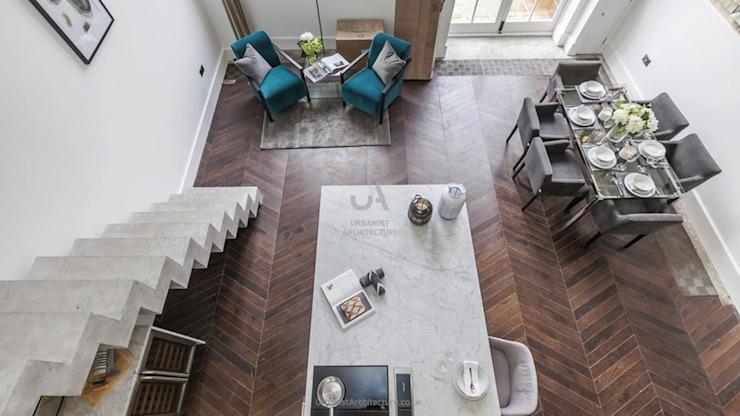 Espace de vie ouvert Salon minimaliste par Urbaniste Architecture Minimaliste Effet bois