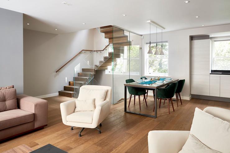 Espace de vie ouvert Salon moderne par l'urbaniste Architecture moderne Effet bois