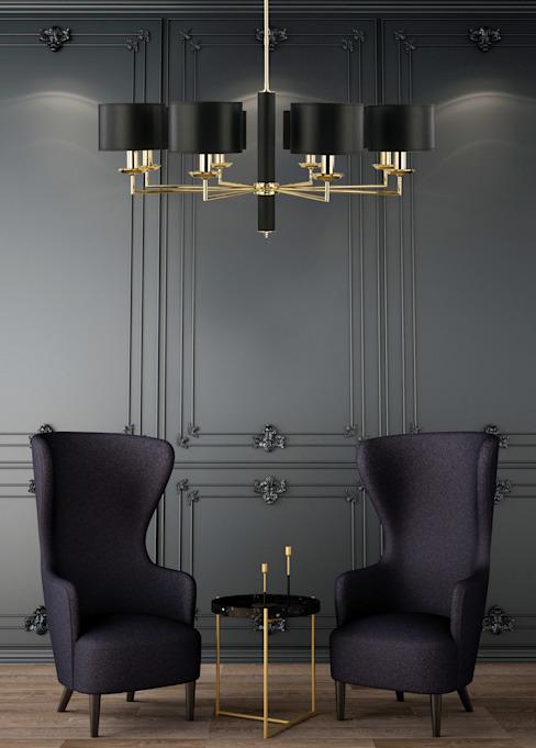 Modesto Lustre moderne de luxe en laiton poli à 8 branches Abat-jour en tissu noir : moderne par Lustre de luxe, Cuivre/Bronze/Bras moderne