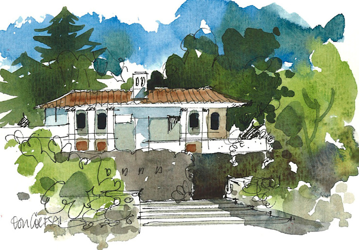 Villa traditionnelle sur un site en pente Maisons modernes par 4D Studio Architectes et décorateurs d'intérieur modernes