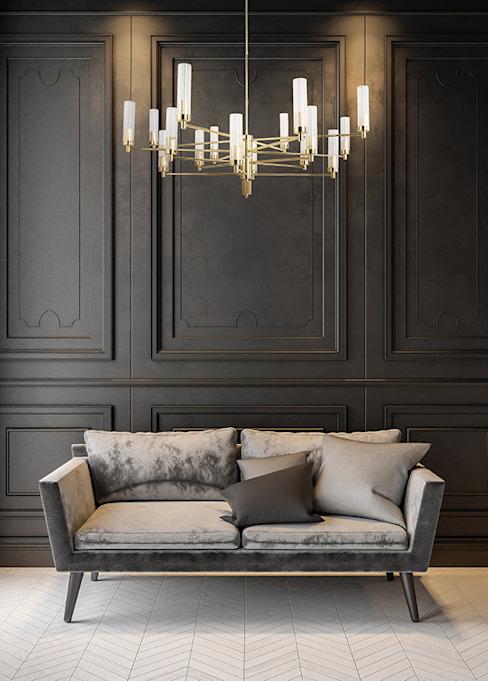 Lustre contemporain de luxe en laiton doré SETI 8 bras de lumière Abat-jour en verre Salon de style classique par Luxury Chandelier Classic
