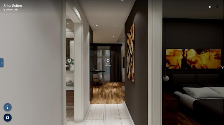 Couloir, couloir et escaliers modernes par ELTA VR SOLUTIONS Effet bois moderne