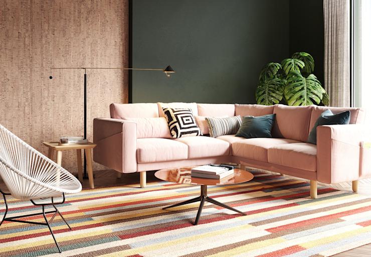 Salle de séjour colorée Murs et sols modernes par Go4cork Modern Cork