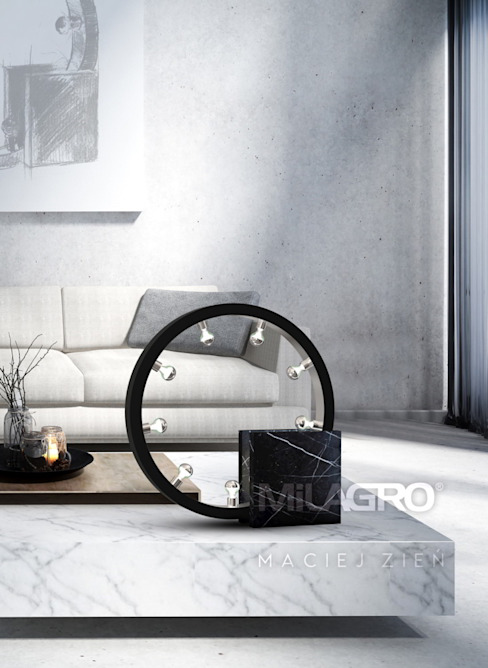 Lampe de table design en marbre noir Salon moderne par Luxury Chandelier Modern Marble
