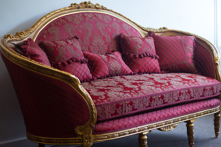 CATHARINA French Red Gold Damask Print Sofa Couch : classic by REGAL SOFAS AND INTERIORS, Classic
