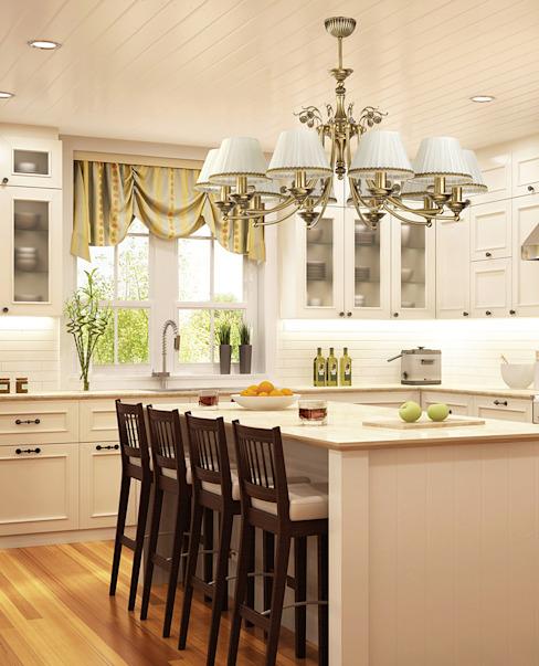 Lustre classique de luxe pour îlot de cuisine avec décor et finitions patinées par Luxury Chandelier Classic Copper/Bronze/Brass