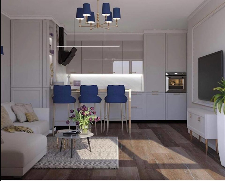Lustre de luxe avec des finitions dorées et des nuances bleues par Luxury Chandelier Classic Copper/Bronze/Brass