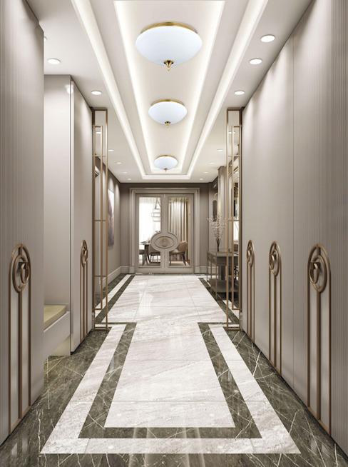 Plafonniers encastrés avec des finitions patinées et des cristaux Swarovski Couloir, couloir et escaliers modernes par Luxury Chandelier Modern Glass