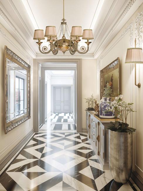 Lustres de style baroque inspirés des couloirs Couloir, couloir et escaliers de style classique Lustre de luxe Cuivre/Bronze/Bras