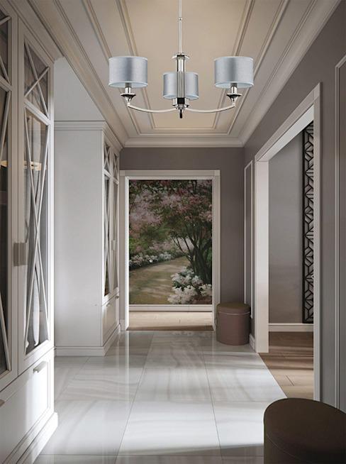 Couloir gris avec lustre Versace décoré par des cristaux Swarovski Couloir, couloir et escalier de style classique par lustre de luxe Classic Cuivre/Bronze/Bras