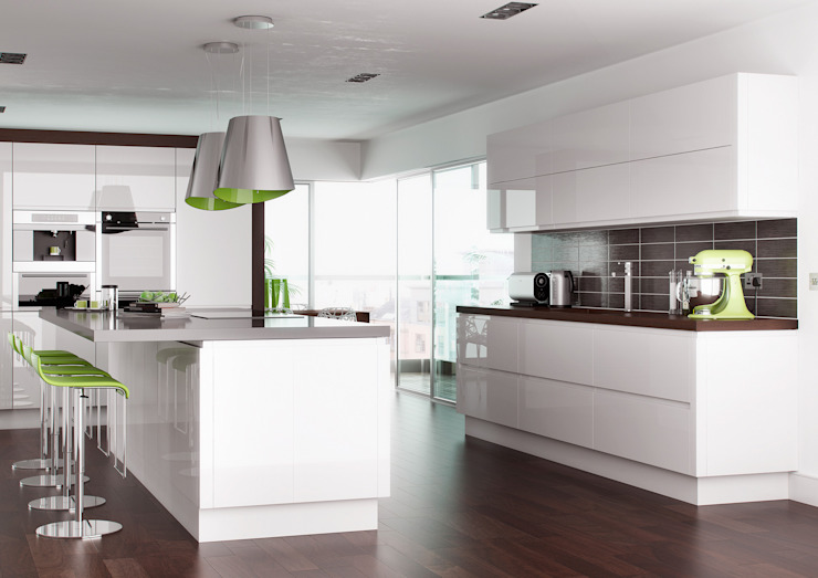 Lucente Gloss White Fitted Kitchens London : modern by Metro Wardrobes London, Modern