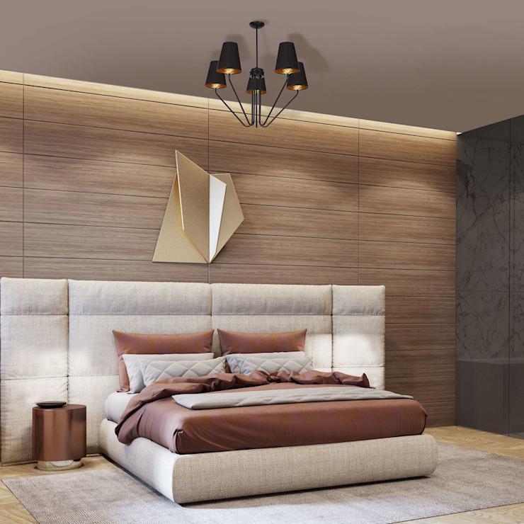 Lustre victorien 5 branches VICA en noir avec des nuances de tissu par Luxury Chandelier Modern Wood Wood effect
