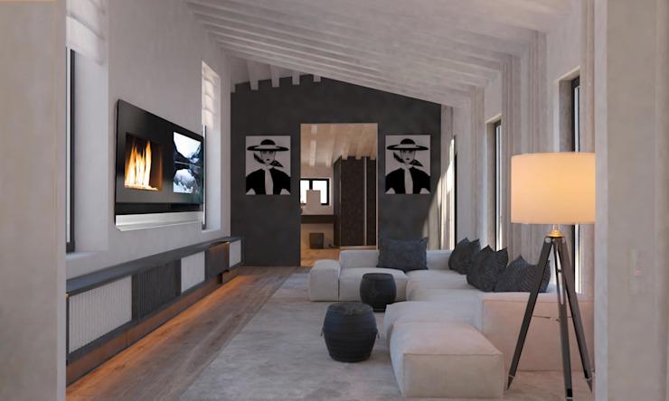 Carre de Sol, Palma Salon de style éclectique par le studio 4D Architectes et décorateurs d'intérieur éclectiques