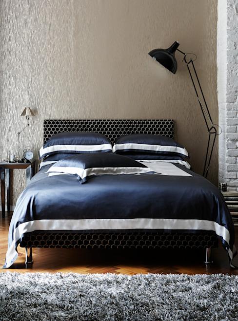 Linge de lit en coton et soie City Slate : modern by Gingerlily, Modern Silk Yellow