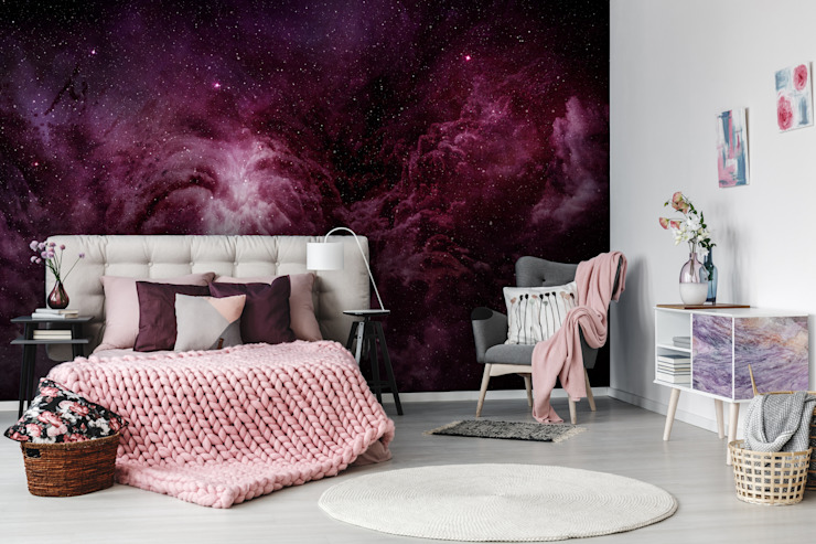 Chambre à coucher de style moderne Purple Galaxy par Pixers Modern