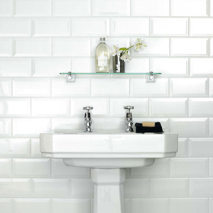 White Metro 20x10 Tiles : industriel par Walls and Floors Ltd, Industriel