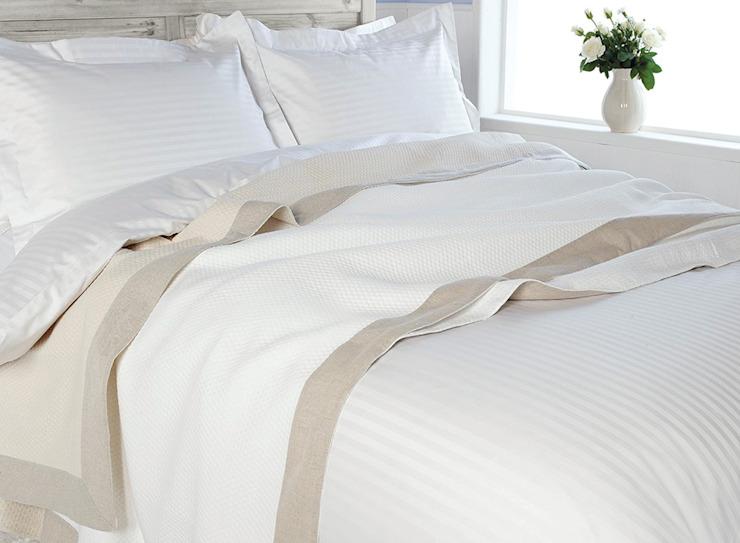 Linge de lit à rayures satinées en coton égyptien : classique du Roi du coton, rouge classique du coton