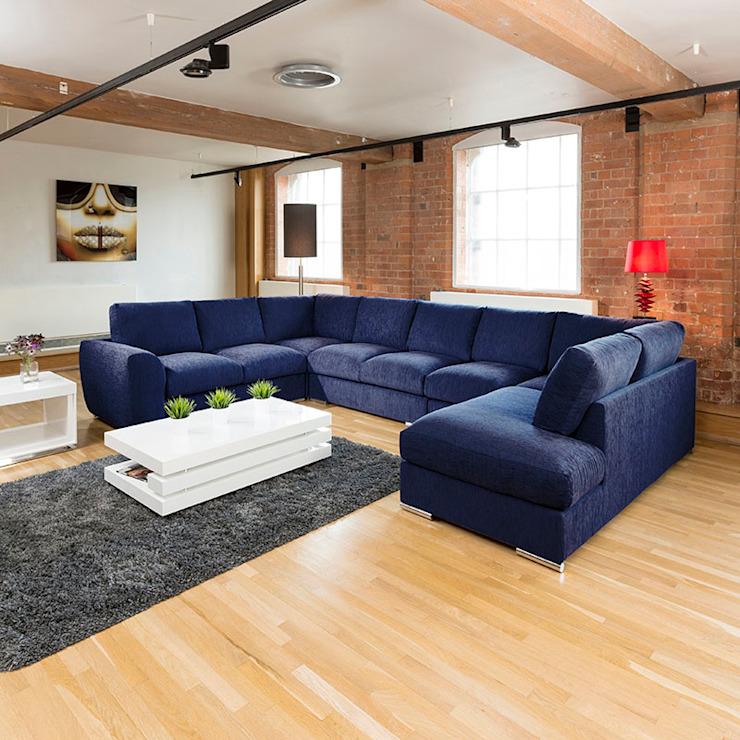 Canapé extra-large Canapé d'angle Groupe U / L Forme Bleu 4,0 x 2,6m L : moderne par Quatropi ltd, Modern