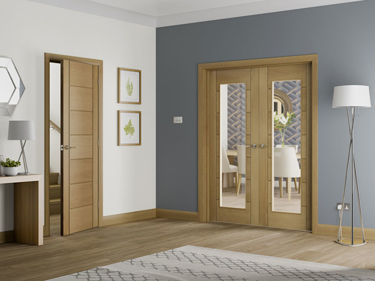 Porte intérieure en chêne de Palerme et feuillure vitrée Paire : modern by Modern Doors Ltd, Modern Engineered Wood Transparent