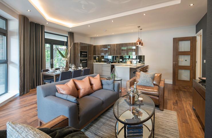 Musewll Hill, Londres Salon de style éclectique par Jigsaw Interior Architecture Cuivre/Bronze/Bras