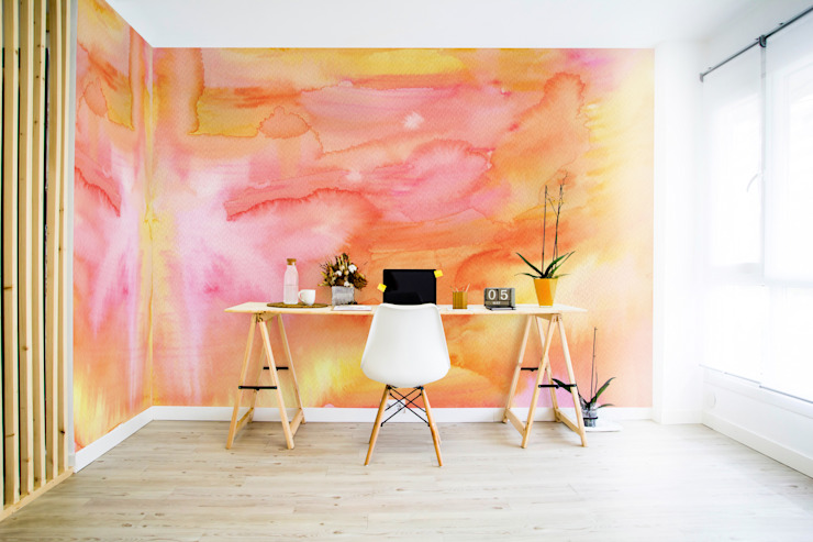 Aquarelle Sunset Pixers Étude minimaliste/bureau Orange