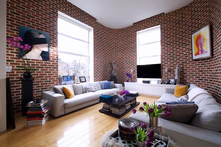 Loft de Londres Salon de style industriel par JKG Interiors Industrial Bricks