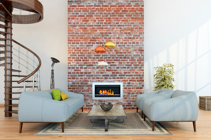 Brique apparente avec rehauts de cuivre Salon moderne par Gracious Luxury Interiors Briques modernes