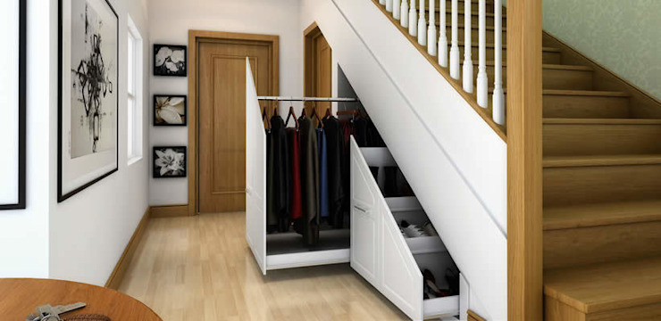 Des solutions de stockage innovantes. Couloir, couloir et escaliers modernes par homify Modern