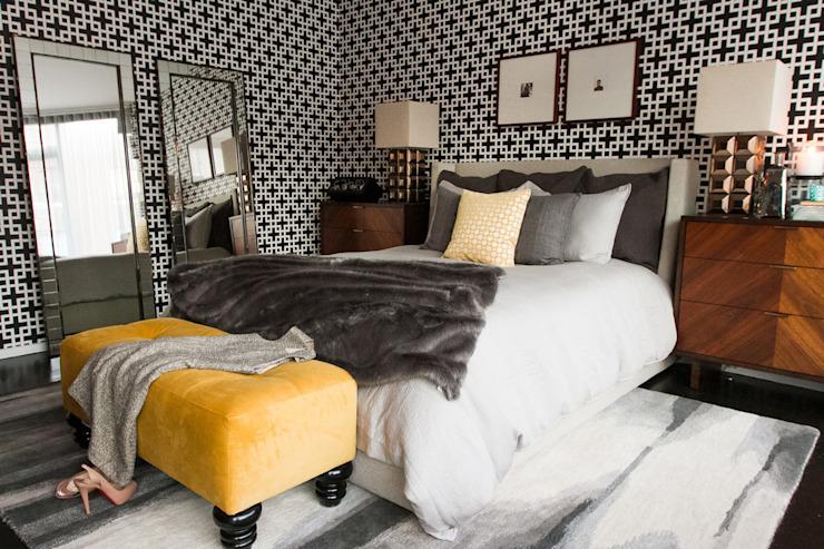 La chambre à coucher du penthouse de Hells Kitchen par Bhavin Taylor Design